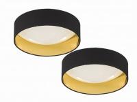 Dimmbares LED Deckenleuchtenset Sternenhimmel 2x Ø80cm, Stoffschirm schwarz gold