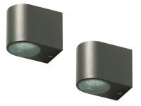 2x LED Außenwandleuchte Bastia Aluminium Anthrazit Down Light Wandleuchte Außen