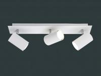 Moderne Bürolampe mit 3 schwenkbaren LED Deckenspots, Wohnraumleuchte in Weiß