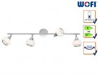 Deckenstrahler Chrom poliert 4 drehbare Spots G9, Deckenleuchte Wohnzimmer Diele