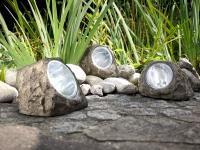3er SET LED DEKO Solarsteine für den Garten & Außenbereich, IP44 geschützt, grau