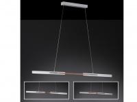 LED Pendelleuchte Aluminium gebürstet mit Holzakzenten Länge variabel - Esstisch