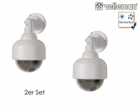 2er Set Dome Kamera Attrappe, rote IR-LED, Fake Innen Außen Überwachungskamera