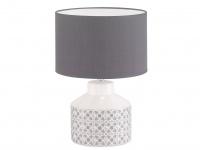 Schöne LED Tischleuchte mit grauem Stoffschirm rund Keramik weiß grau, Flurlampe