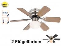 Deckenventilator mit Licht, Zugschalter, 2 Flügelfarben Buche / graphit, Globo