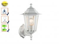 Globo Wandleuchte / Außenleuchte Laterne in Weiß, Fassadenbeleuchtung Lampe E27