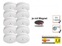 10er-SET Rauchmelder 5 Jahres Batterie TÜV geprüft + Magnetbefestigung Alarm