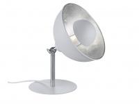 Retro Nachtischleuchte mit Lampenschirm schwenkbar in Weiß / Silber mit E14 LED