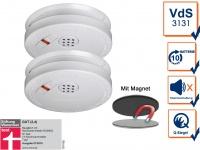 2er Set Rauchmelder 10 Jahre Batterie + Magnethalterung mit VdS & Q-Siegel Brand