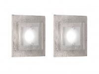 2x Fischer LED Wandleuchte SHINE-ALU Antik, Glas teilsatiniert, Wandlampe Design