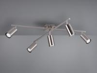 Deckenstrahler mit 5 LEDs für Wohnzimmer, Schlafzimmer & Küche in Nickel matt