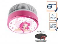 Mini Brandmelder mit Elfenprinzessin Bild 10 Jahres Batterie & Magnetmontage