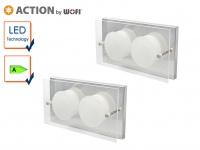 2er Set 2-flammige LED Wandleuchte ENVY, 11, 5 x 22 cm, Wandlampe LED Wandleuchte
