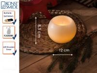 LED Echtwachskugelkerze weiß 4/8h Timer Ø 12cm flackernde Diode Dekoration