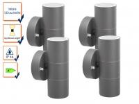 4er-Set Up-/Down Außenwandleuchten IP44, inkl. 2 x 3W LED 230 Lumen, GU10-Sockel