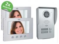 Video Türsprechanlage mit 2x Monitor & Außenkamera, Klingelanlage 2Familienhaus