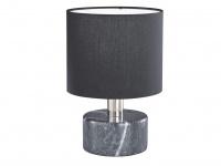 Elegante LED Wohnzimmerleuchte Materialmix aus Marmor mit Stoffschirm in schwarz
