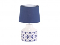 Schöne Keramiktischleuchte weiß blau mit Stoffschirm, Flurlampe Wohnzimmerlampe