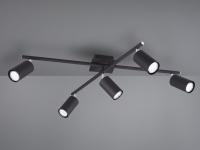 Schwenkbare Deckenleuchte mit 5 LEDs - Bürolampe & Wohnraumleuchte, schwarz matt