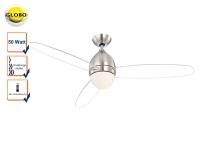 Deckenventilator mit Licht Fernbedienung, Ø 132cm, 3 Stufen, Beleuchtung, Globo