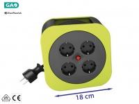 Handliche Kabelbox Kabeltrommel grün, 10M, Überhitzungsschutz Verlängerungskabel