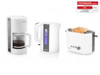PETRA Frühstücksset Arktisch Weiß Kaffeemaschine, Wasserkocher, Toaster