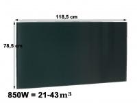 850W Glasheizpaneel, Infrarotheizung schwarz, Glaspaneel rahmenlos, Vitalheizung
