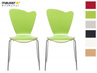 2er Design Stuhl HEART grün Stapelstuhl Esszimmerstuhl Bistrostuhl Schalenstuhl