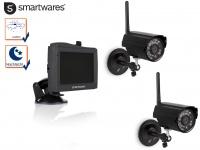 Funkkamera Set Überwachung Outdoor Kameras mit Nachtsicht + 4, 3Zoll Touchscreen