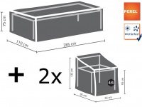 Gartenmöbel Set: 1x Hülle für Tisch max. 280cm + 2x Schutz für 4-6 Stühle 90cm