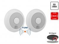 2er-Set vernetzbare Rauchmelder + Magnethalter, verlinkbar, erweiterbar