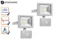 2 LED Strahler Fluter Bewegungmelder 10Meter 10W Scheinwerfer Wandstrahler außen
