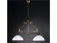 Pendelleuchte Hängeleuchte rost gold, Glas weiß, Design antik, Honsel-Leuchten