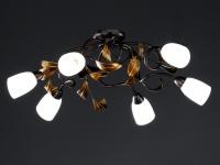 6-flammige Deckenleuchte, Rost antik / Gold, 84 x 73 cm, Honsel-Leuchten