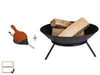 Feuerschale mit Blasebalg Gusseisen schwarz Ø 56cm Feuerstelle Gartenfeuer
