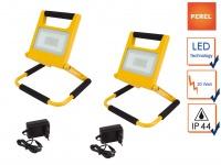 20W LED Baustrahlerset klappbar mit Akku, Fluter Arbeitsscheinwerfer Baustelle