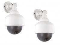2er-Set Dummy-Dome Kamera Attrappe blinkende LED Überwachungskamera