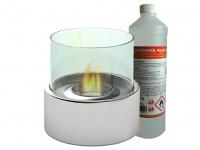 Edler Tischkamin + 1Liter Bio Ethanol Ø 16cm Tischfeuer Glas-Kamin Dekokamin
