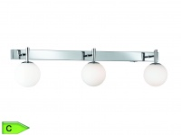 Badezimmer-Balken, 3 x 28W/G9, Länge 65cm, Schalter, Chrom/weiss