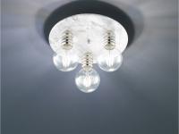 Runde Deckenleuchte mit Marmor-Base in weiß/grau Ø30cm, coole Wohnzimmerlampe