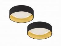 Dimmbares LED Sternenhimmel Deckenleuchtenset 2x Ø40cm, Stoffschirm schwarz gold