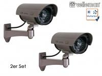2er Set Kamera Attrappe, IR-LEDs & LED rot, Fake Dummy Innen Außen Überwachung