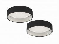 Dimmbares LED Sternenhimmel Deckenlampenset 2x Ø40cm, Stoffschirm schwarz silber