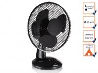 Tischventilator schwarz, 2 Stufen, oszillierend, Ø23cm Ventilator Luftkühler