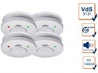 4er Set ELRO Rauchmelder 10 Jahre Batterie VdS Zertifiziert, Küchen geeignet