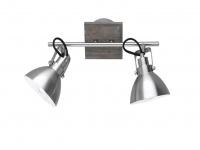 Deckenlampe mit 2 schwenkbaren Spots, Vintage Look Metall Nickel matt holzfarbig