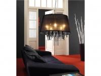 Trio Kronleuchter schwarz mit Acrylschirm und Behang, E14, Ø 50 cm