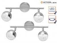 LED Deckenleuchte Strahler 2er Set schenkbar Nickel matt Beleuchtung Wohnzimmer