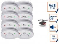 8er-Set Rauchmelder mit 10 Jahres Batterie, VdS Zertifiziert + Magnetbefestigung