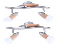 2x Globo Deckenleuchte Deckenstrahler LORD mit LED, Holz, Deckenlampe E14 Spot